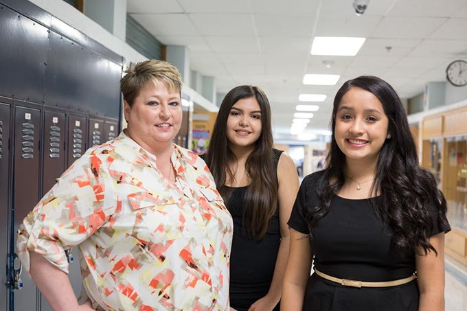 Principal, Mylissa Hall, and two AP students pose for a photo at Southeast High School on Wednesday, September 21, 2016 in Oklahoma City. - EMMY VERDIN