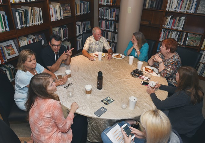 Filmmakers, panelists and interested parties enjoy the Stella Artois Waffles and Beer Brunch at the OKCMOA Friday morning during day 2 of the DeadCenter Film Festival. - MARK HANCOCK