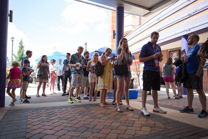 Dead Center Film Festival attendees wait in line  at Harkins theatre in Oklahoma City, Saturday, June 11, 2016. - EMMY VERDIN