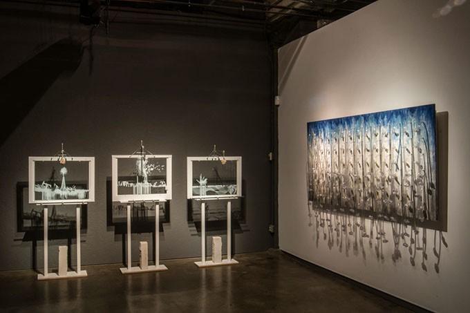 "Adam Lanman's interactive installation ""Earth Air Water"" and Beatriz Mayorca's ""Angel Fall"""