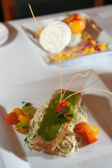 Pan seared halibut with herb pasta, a seasonal menu item at The Metro Wine Bar & Bistro.  mh