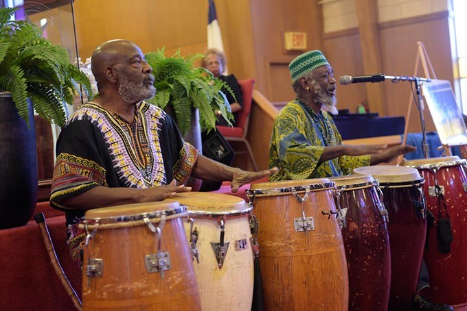 Jahrub led a musical tribute to Clara Luper during the 59th Oklahoma City Sit-In Anniversary at Fifth Street Baptist Church earlier this month. - GARETT FISBECK