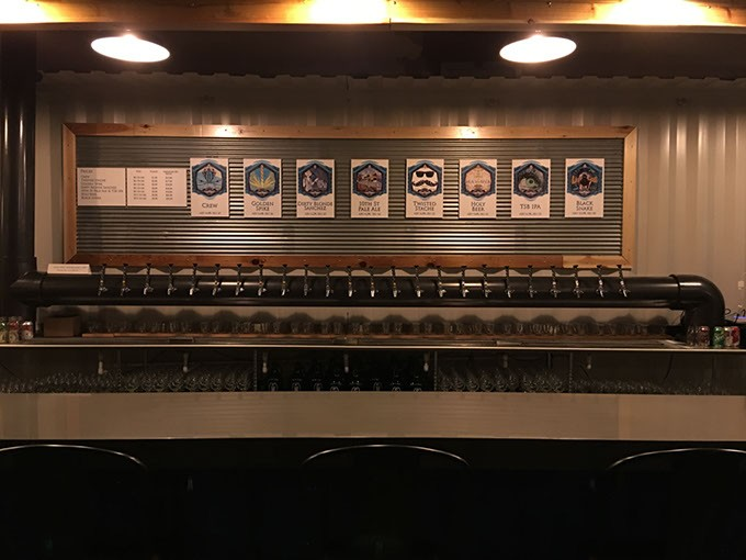 Twisted Spike's taproom is separated from its brewery by a glass partition, so guests can watch magic happen. (Provided)