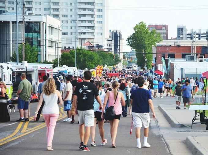 Revelers fill the H&8th Night Market event corridor. The street festival returns June 3 as part of TenaCity. (Provided)
