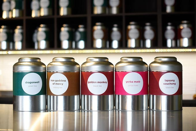 Interesting tea varieties, including Golden Monkey, line the walls at Urban Teahouse. (Garett Fisbeck)