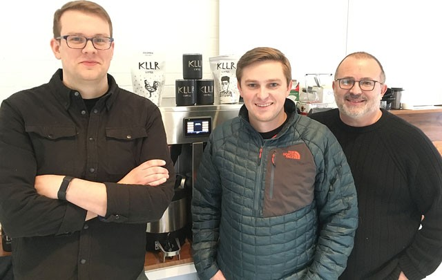 Steve Willingham, Hobbs Halbert and Michael Halbert opened KLLR Coffee in August 2017. (Photo Jacob Threadgill)