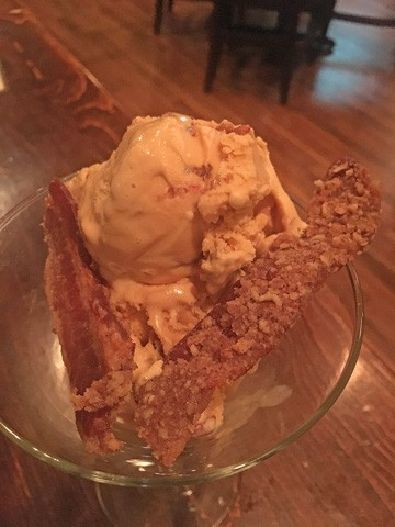 A salted caramel ice cream is enhanced with crunchy, brown sugar-covered pieces of bacon. (Photo Jacob Threadgill)
