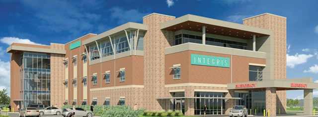 An artist's rendering shows Integris Community Hospital at its proposed location at 3391 S. Interstate 35 Service Road in Moore. (Image Integris / provided)