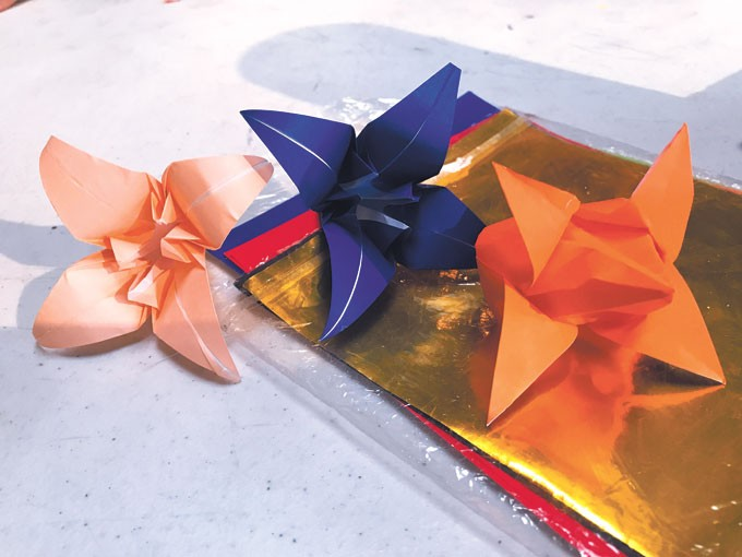Origami flowers made by David Smith | Photo provided