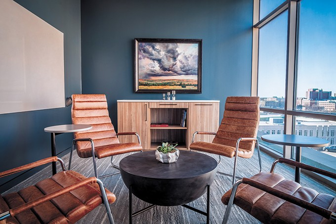 The fifth and sixth floors of The Heritage are - occupied by Saxum, which designed the space to feature 22 meeting rooms, from traditional conference rooms to sitting rooms. - PHOTO LOGAN WALCHER / PROVIDED