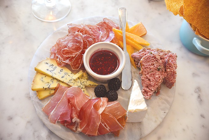 Le Loup plate features three cheeses and three types of charcuterie. | Photo Jacob Threadgill