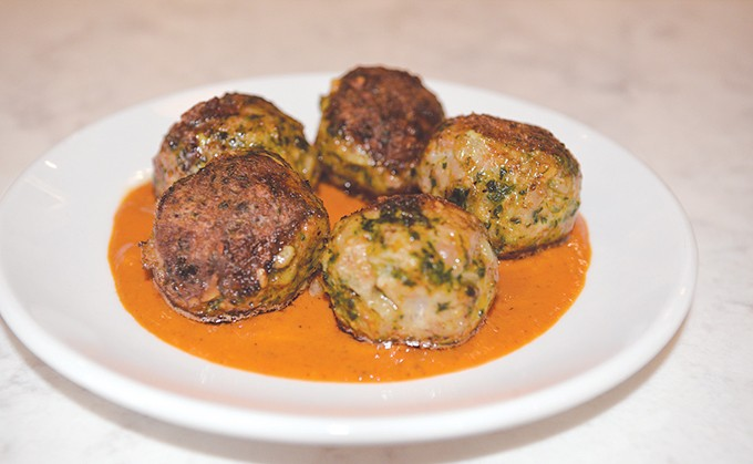 Veal and pork meatballs with a romesco sauce | Photos Jacob Threadgill