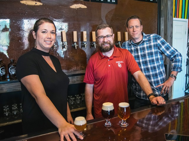 from left Holly and Stephen Swanson, with co-owner Stephen Basey, are keeping it simple and strong at Norman's Lazy Circles Brewing. (Photo Mark Hancock)