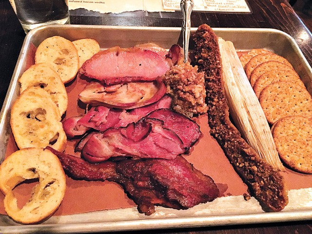 The bacon sampler includes eight versions of smoked pork, including bacon jam. (Photo Jacob Threadgill)