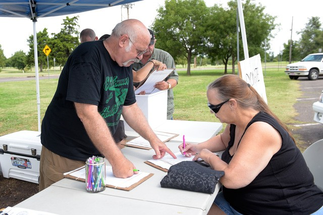 In 2016, Oklahomans for Health collected enough petition signatures for a state question on medical marijuana, but a lawsuit over ballot language delayed the vote until this year. - GAZETTE / FILE