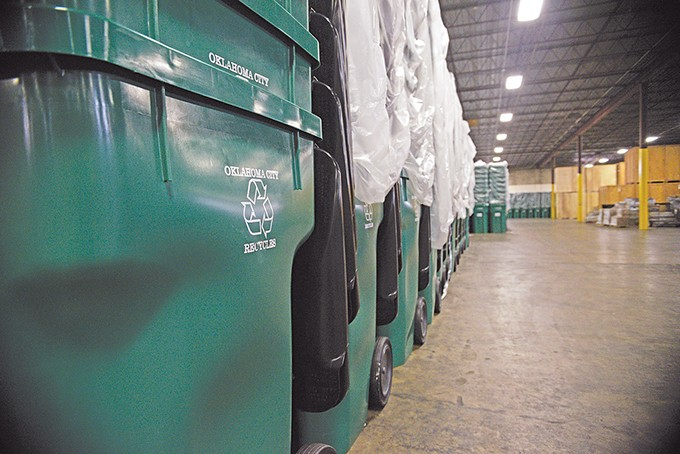 The City of Oklahoma City transitions to a new recycling plan in July allowing municipal households to switch from 18-gallon blue bins to 96-gallon green carts for curbside recycling service. - LAURA EASTES