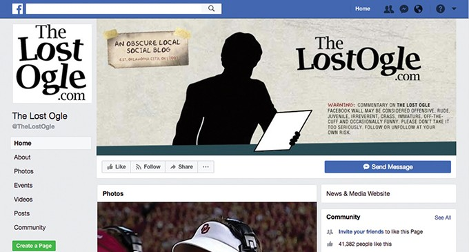 The Lost Ogle, a local Oklahoma City-based news blogsite, uses Facebook to attract users to its site. - GAZETTE / FILE