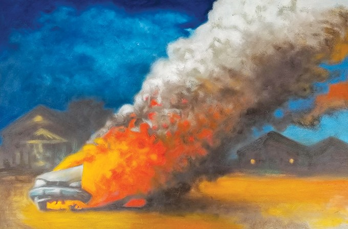 """Car on Fire in the Cul de Sac"" by J. Chris Johnson - PROVIDED"