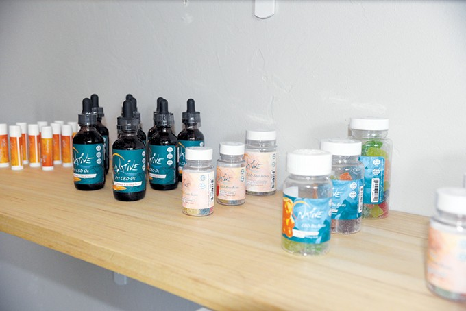 CBD products at The Peak Plaza Dispensary in Oklahoma City's Plaza District - NAZARENE HARRIS