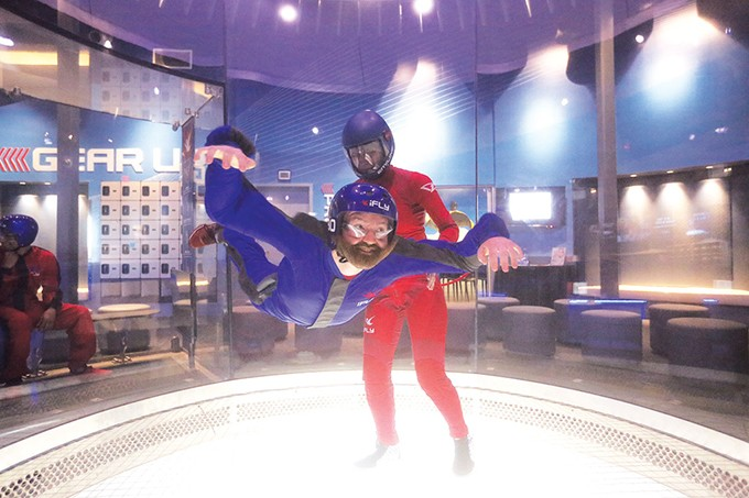 Oklahoma Gazette reporter Ben Luschen practices hovering for his virtual skydive over The Alps. - IFLY OKLAHOMA CITY INDOOR SKYDIVING / PROVIDED