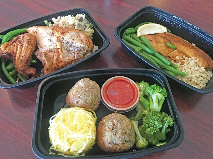 A selection of weekly prepped meals available for order through Chef Curry To Go's website. Included are roasted chicken, blackened tilapia and turkey meatballs with spaghetti squash. - JACOB THREADGILL