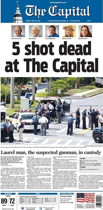 The front page of the Capital Gazette the day after the deadly shooting in Annapolis, Maryland. - PROVIDED