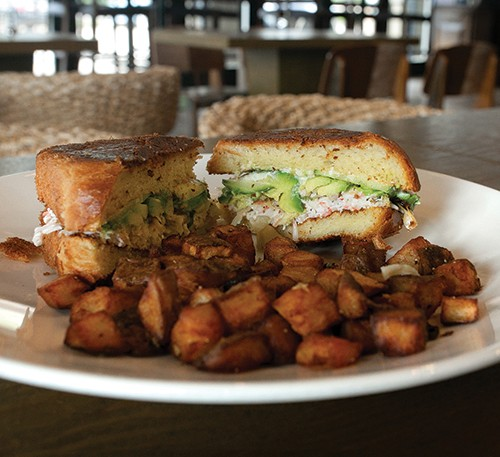 The California roll sandwich is served on housemade brioche bread. - ALEXA ACE