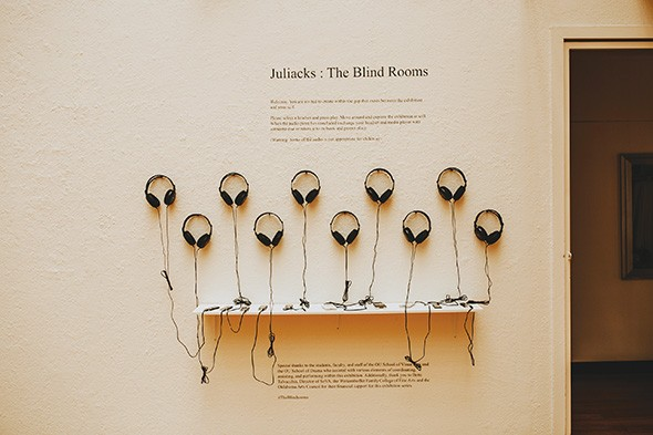 The Blind Rooms features works by artist Juliacks accompanied by audio files of stories written by Juliacks and read by OU drama students. - ALEXA ACE
