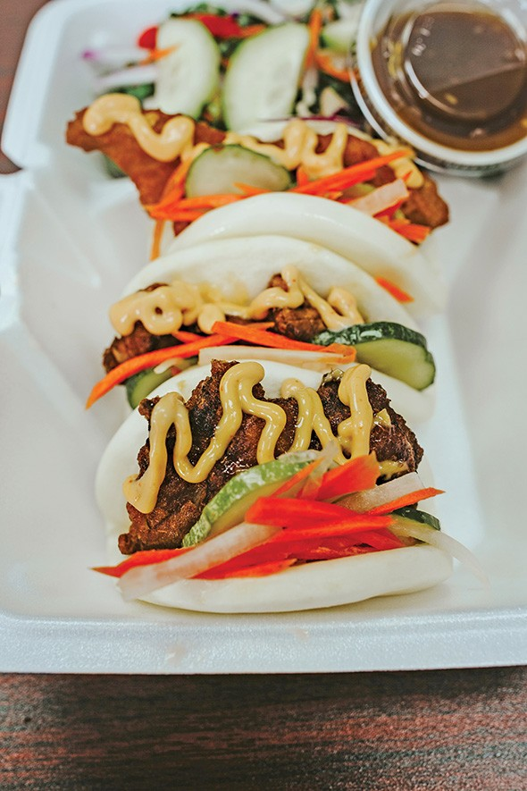 Chop Chop offers three kinds of steam buns, including the Japanese-inspired karaage chicken. - ALEXA ACE