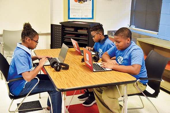Students at Boys & Girls Clubs of Oklahoma County use new Chromebooks donated to the club from nonprofit organization WorldVentures. - PROVIDED