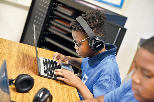 A student at Boys & Girls Clubs of Oklahoma County uses new Chromebooks donated to the club from nonprofit organization WorldVentures. - PROVIDED