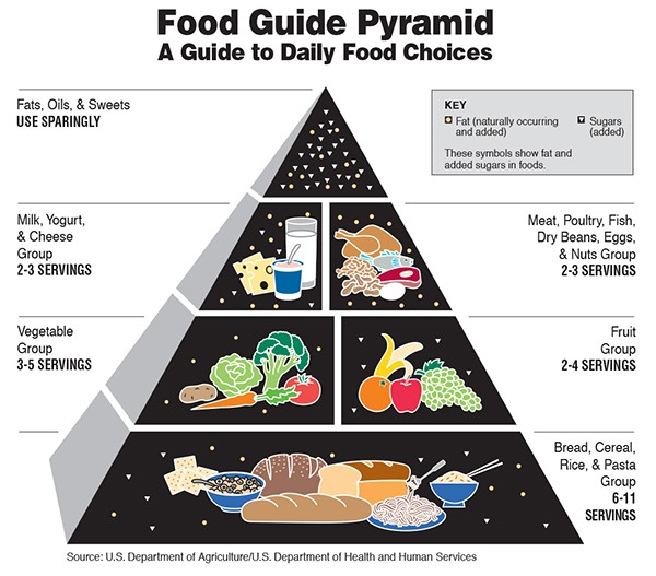 The food pyramid was introduced by the FDA in 1992. - PROVIDED