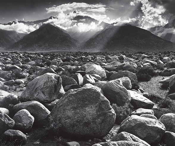 Mount Williamson, the Sierra Nevada, from Manzanar, California, 1945 - ANSEL ADAMS  COLLECTION CENTER FOR CREATIVE PHOTOGRAPHY ©THE ANSEL ADAMS PUBLISHING RIGHTS TRUST / PROVIDED