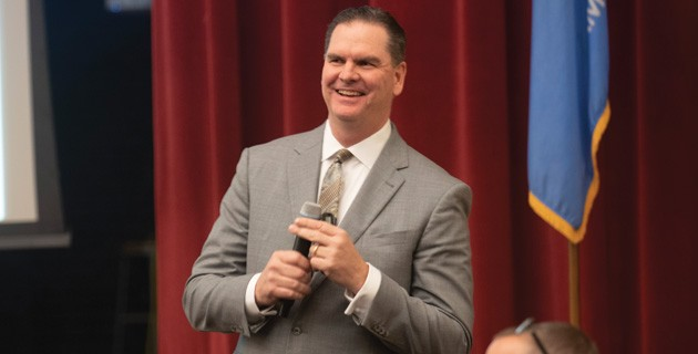 Oklahoma City Public Schools superintendent Sean McDaniel presented three possible paths to majorly realign public schools to a packed Northeast Academy auditorium Jan. 22. - MIGUEL RIOS