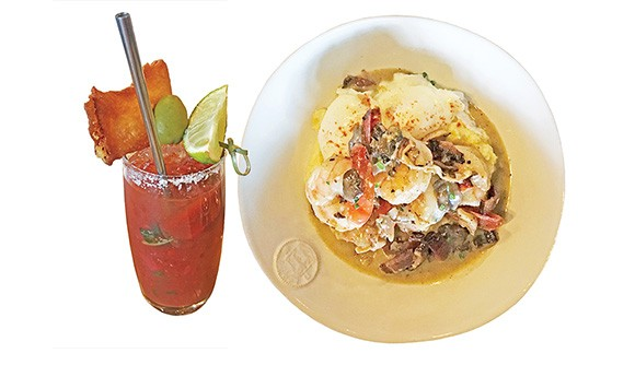 left The bloody mary is garnished with a tomato and fried cheese pierogi. right Shrimp and grits on the new Osteria brunch menu - JACOB THREADGILL