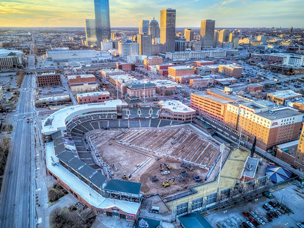 Chickasaw Bricktown Ballpark is undergoing a $2.5 million facelift that includes a completely new playing surface. - PETER J. BRZYCKI / OKCTALK