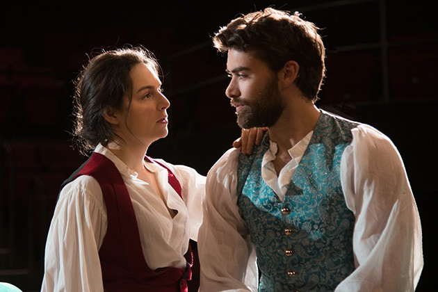 from left University of Oklahoma students Alexis Pudvan and Bryan Lewis rehearse for Twelfth Night, scheduled to run April 26-May 4 at OU's Weitzenhoffer Theatre in Norman. - PHOTO SANDRA BENT / PROVIDED
