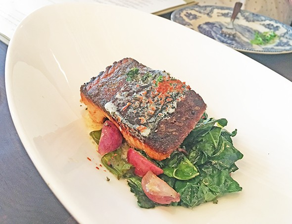 Ora King salmon pan-roasted with seasonal vegetables - JACOB THREADGILL