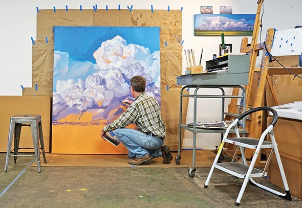 Artist David Holland will set up his studio so gallery visitors can watch him at work painting Oklahoma storms. - MAINSITE CONTEMPORARY ART / PROVIDED