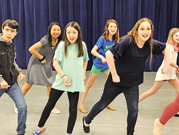 from left Ayden Hartel, Emma Wells, Estella Stevenson, Nikki Oliphant and Emma Poindexter rehearse for Thelma Gaylord Academy's production of Honk Jr. - PROVIDED