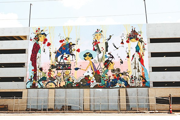 """Denise Duong's """"Life in the Light"""" mural recently went up on West Village Parking Garage. - ALEXA ACE"""