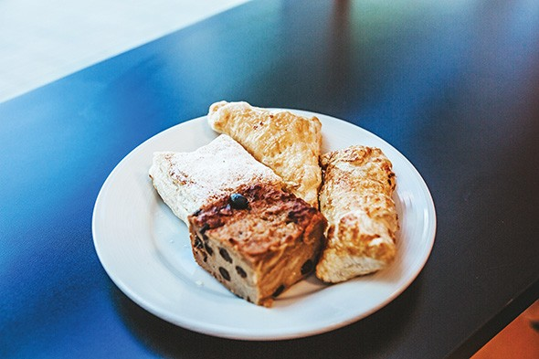 Guava puff pastry, pineapple turnover, quesito and bread pudding at D Taino - ALEXA ACE