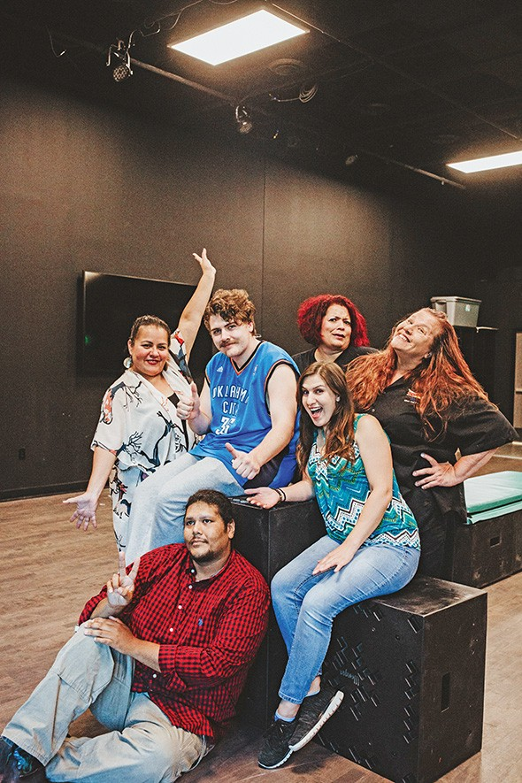 clockwise from bottom Johnlee Lookingglass, Summer Morgan, Cody Tabor, Tiffany Tuggle, Carolyn Dunn and Misty Red Elk take a break from rehearsing for Neechie-Itas, the featured play at Oklahoma Indigenous Theatre Company's 2019 Native American New Play Festival. - ALEXA ACE
