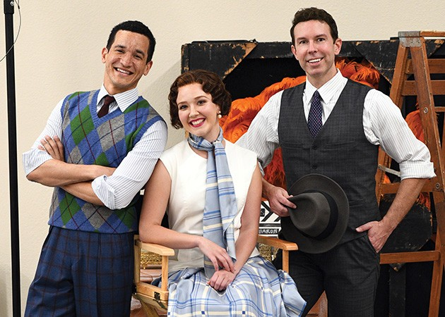 Richard Riaz Yoder, Tatum Grace Ludlam and Jeremy Benton star in Lyric Theatre's production of Singin' in the Rain through Sunday at Civic Center Music Hall's Thelma Gaylord Performing Arts Theatre. - LYRIC THEATRE / PROVIDED