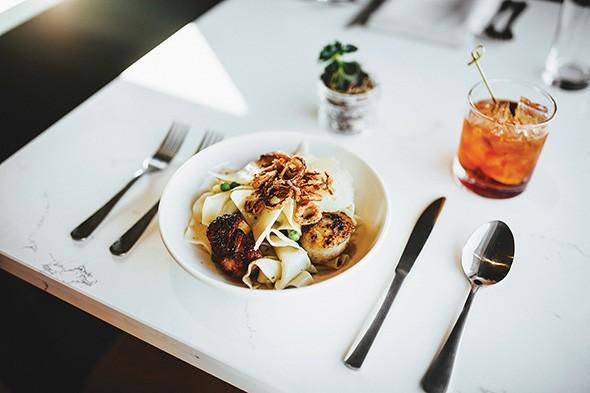 Seared scallops are served with Della Terra pasta. - GAZETTE / FILE