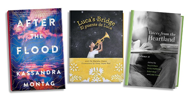 from left After the Flood is currently in development as a TV series for Apple; Luca's Bridge/El puente de Luca is a bilingual children's book; and Voices from the Heartland, Volume II is a collection of essays written by Oklahoma women. - PROVIDED