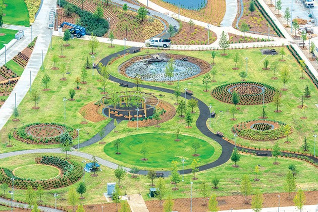 Crews are working around the clock to prepare Scissortail Park for the grand opening weekend Sept. 27-29. - PROVIDED