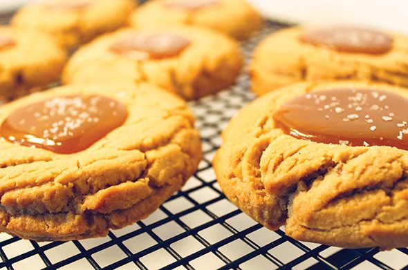 Peanut butter cookies topped with salted caramel at Sunshine Baking Company - PROVIDED