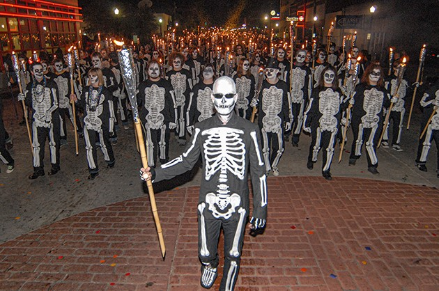In its first four years, the parade featured The March of 1,000 Skeletons, presented by The Flaming Lips. - PHOTO GAZETTE / FILE
