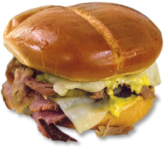 Cuban Boss sandwich with house-smoked ham, pulled pork, Swiss cheese, pickles and mustard sauce from Smoked Out BBQ - ALEXA ACE